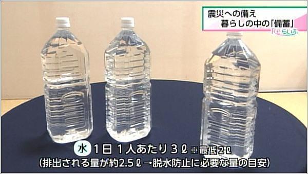水は1日一人あたり3リットル
