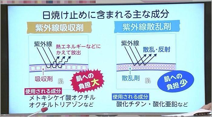 10 日焼け止めに含まれる主な成分の説明図