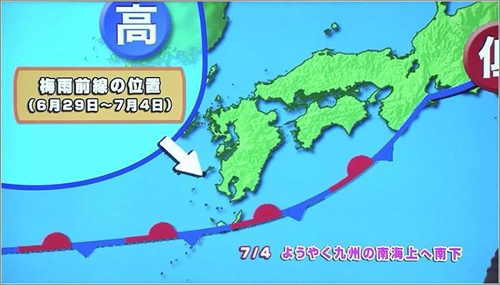 07 大雨時の梅雨前線と高気圧の動き